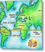 Map Of The World & Equator Metal Print