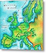 Map Of Western Europe Metal Print