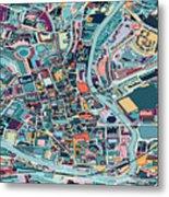 Map Style Art Background,bath City Metal Print