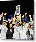 Mariano Rivera Holds Trophy As New York Metal Print