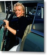 Marilyn Monroe Getting Out Of A Car Metal Print