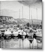 Marina Geneva Switzerland Black And White Metal Print