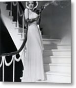 Marlene Dietrich Smoking On Staircase Metal Print