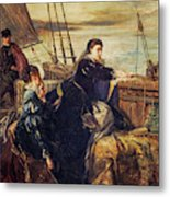 Mary, Queen Of Scots - The Farewell To France, 1867  Metal Print
