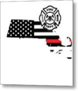 Massachusetts Firefighter Shield Thin Red Line Flag Metal Print