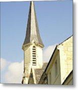 medieval church spire in France Metal Print