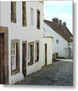 medieval cobbled street in Culross, fife Metal Print