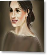 Megan Markle Portrait Painting Metal Print