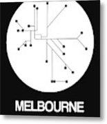 Melbourne White Subway Map Metal Print
