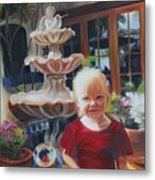 Melody By The Fountain Metal Print