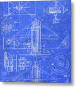 Merry Go Round Amusement Carousel Vintage Patent Blueprint Metal Print
