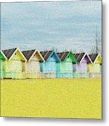 Mersea Island Beach Hut Oil Painting Look 1 Metal Print