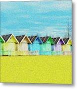 Mersea Island Beach Hut Oil Painting Look 2 Metal Print