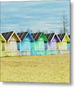 Mersea Island Beach Hut Oil Painting Look 3 Metal Print