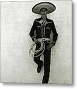 Mexican Cowboy Wearing Hat And Holding Metal Print