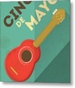 Mexican Guitar. Posters In Retro Style Metal Print