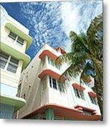 Miami Art Deco Drive Architecture Blue Metal Print