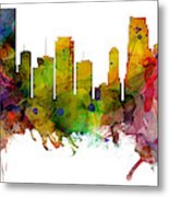 Miami Florida Skyline Panoramic Metal Print