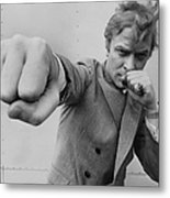 Michael Caine Throwing A Punch Metal Print
