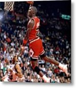 Michael Jordan Action Portrait Metal Print