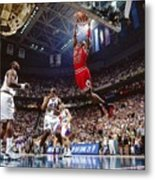 Michael Jordan Attempts A Dunk Metal Print