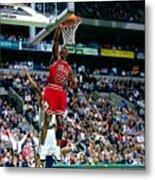 Michael Jordan Dunks The Ball Metal Print