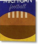 Michigan Football Minimalist Retro Sports Poster Series 001 Metal Print