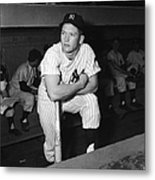 Mickey Mantle In Yankee Dugout Metal Print