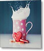 Milk And Heart Shape Cookies Metal Print