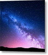Milky Way And Pink Light At Mountains Metal Print
