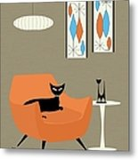 Mini Gravel Art Orange Chair Metal Print