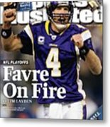 Minnesota Vikings Qb Brett Favre, 2010 Nfc Divisional Sports Illustrated Cover Metal Print