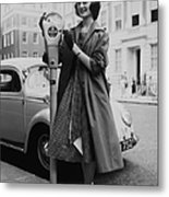 Miss Lorraine Buist Putting A Coin Into Metal Print