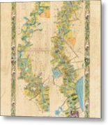Mississippi River Historic Map Lousiana New Orleans Baton Rouge Map Farming Plantation Hand Painted  Metal Print