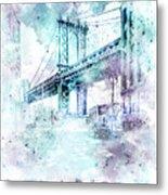 Modern Art Nyc Manhattan Bridge - Jazzy Watercolor Metal Print
