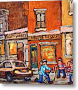 Molly And Bill's Duluth Near Coloniale And St Dominique C Spandau Plateau Mont Royal Hockey Artist  Metal Print