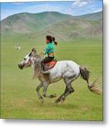 Mongolia, Naadam Festival, Horse Racing Metal Print
