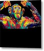Monkey Drummer Gift For Musicians Color Design Metal Print