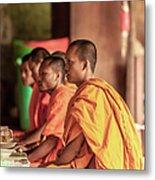 Monks At Breakfast, Wat Monastery Metal Print