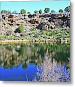 Montezuma's Well Az Water Blue Sky Reflections Stone Wall 3192019 5253. Metal Print