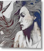 Monument - Red 'n Blue - Sleeping Beauty, Woman With Skyline Tattoo And Bird Metal Print