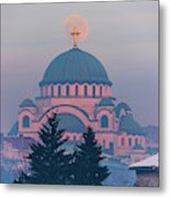 Moon In The Cross Of The Magnificent St. Sava Temple In Belgrade Metal Print