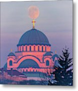 Moon On Top Of The Cross Of The Magnificent St. Sava Temple In Belgrade Metal Print