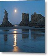 Moon Setting Over Seastacks At Low Metal Print