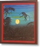 Moonlight Baboon Metal Print