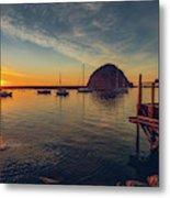 Morro Bay Harbor Sunset Metal Print