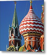 Moscow, Spasskaya Tower And St. Basil Metal Print