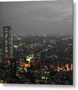 Mostly Black And White Tokyo Skyline At Night With Vibrant Selective Colors Metal Print