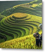 Mother And Dauther Hmong, Working Metal Print