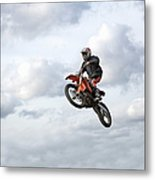 Motocross Rider In Mid-air, Low Angle Metal Print